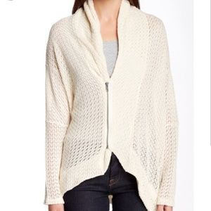 Anthropologie Dolan Crocheted Zip Up Cardigan